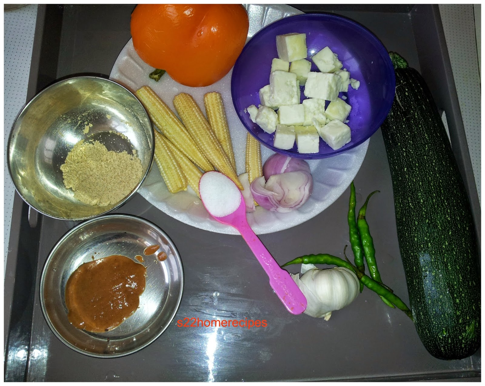 Baby corn-Paneer-Zucchini stir fry with bell peppers