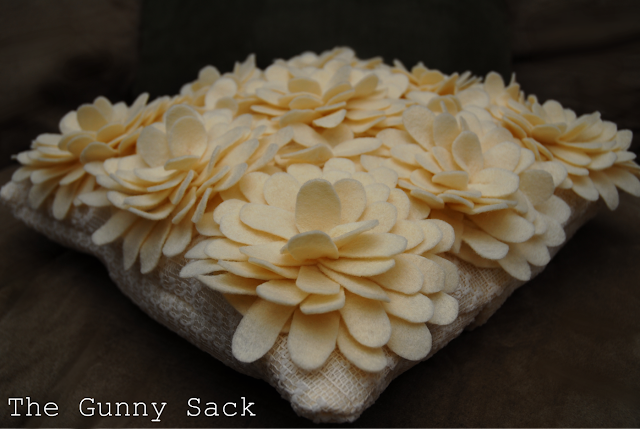 craft for home decor: knockoff delancey felt petal pillow , sewing tutorial