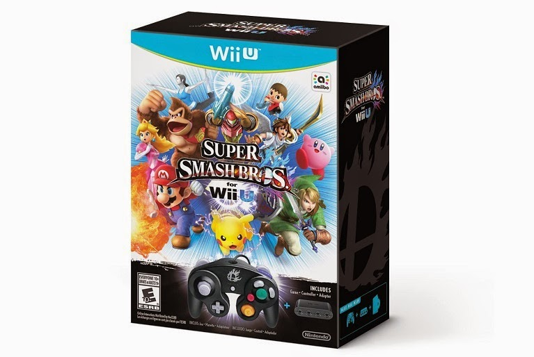 Image of Super Smash Bros. Wii U bundle, which includes a copy of the game, a GameCube controller, and an adapter for the controller.