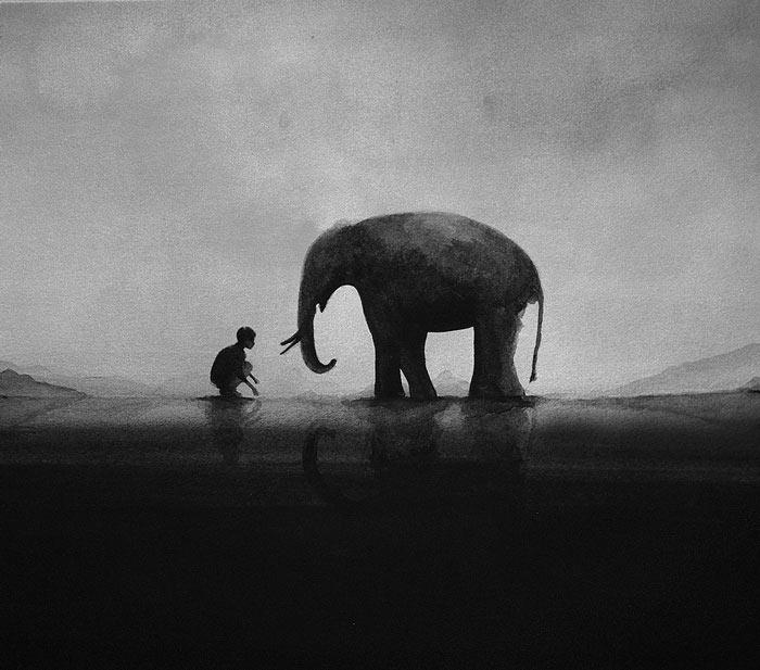 Poéticas acuarelas en blanco y negro por el artista Elicia Edijanto
