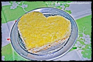 torta de frango em forma de coração