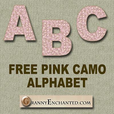Free Pink Camo Digi Scrapbook Alphabet