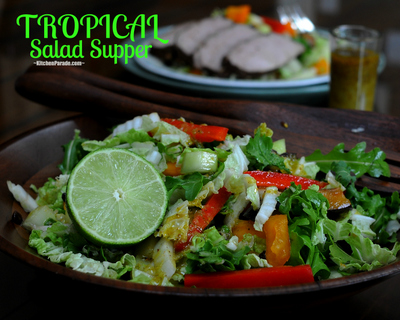 Tropical Salad Supper, a magical melange of fruits and vegetables in a lime vinaigrette, goes beautifully with the companion recipe for Tropical Pork Tenderlion.