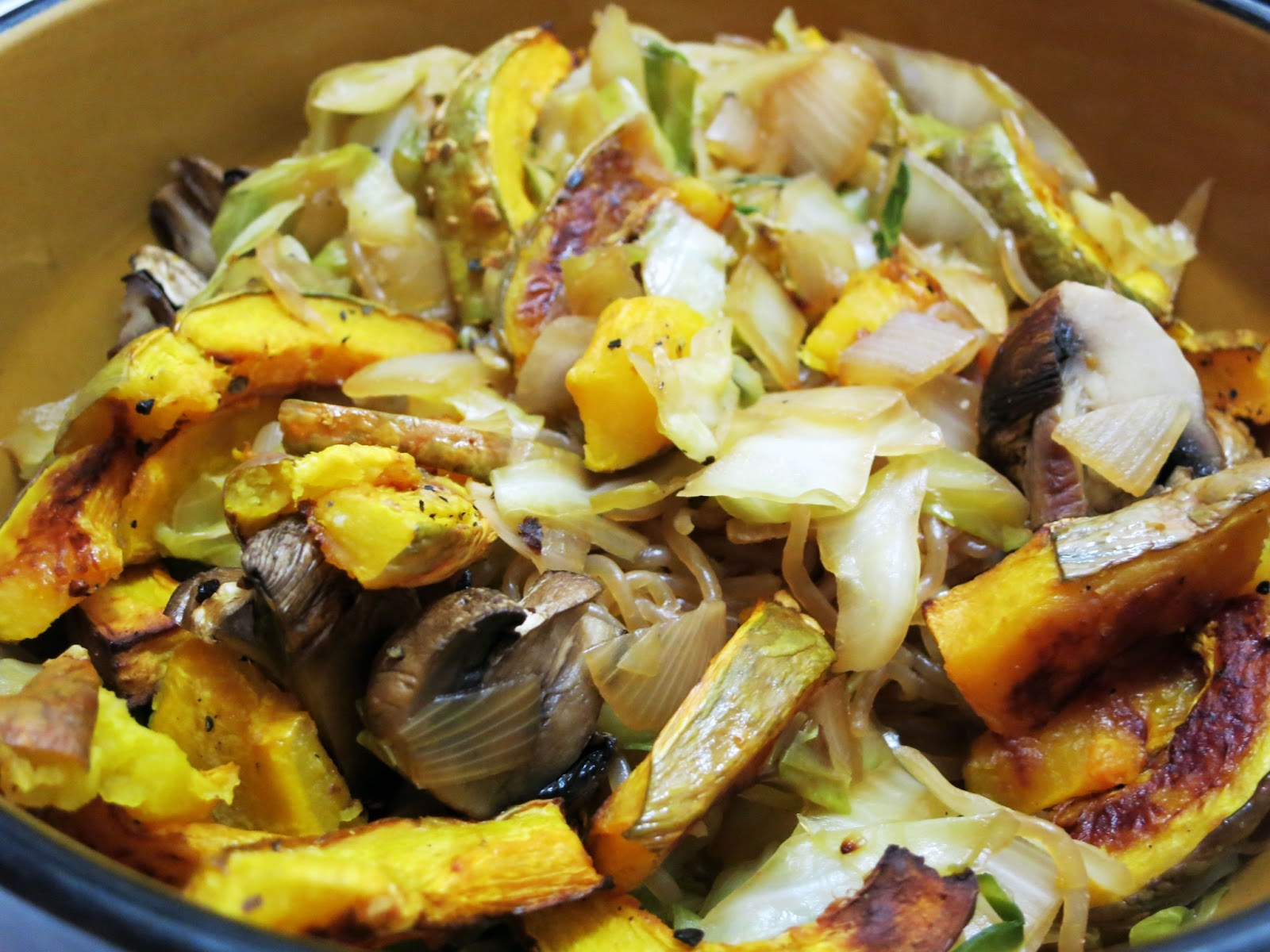 Roasted Kabocha, Mushroom, Cabbage and Yam Noodle Stir Fry Salad