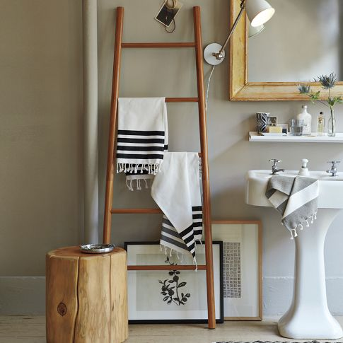 Dishfunctional designs old ladders repurposed as home decor for Bathroom decor ladder