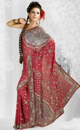 Embroidered Indian Net Sarees