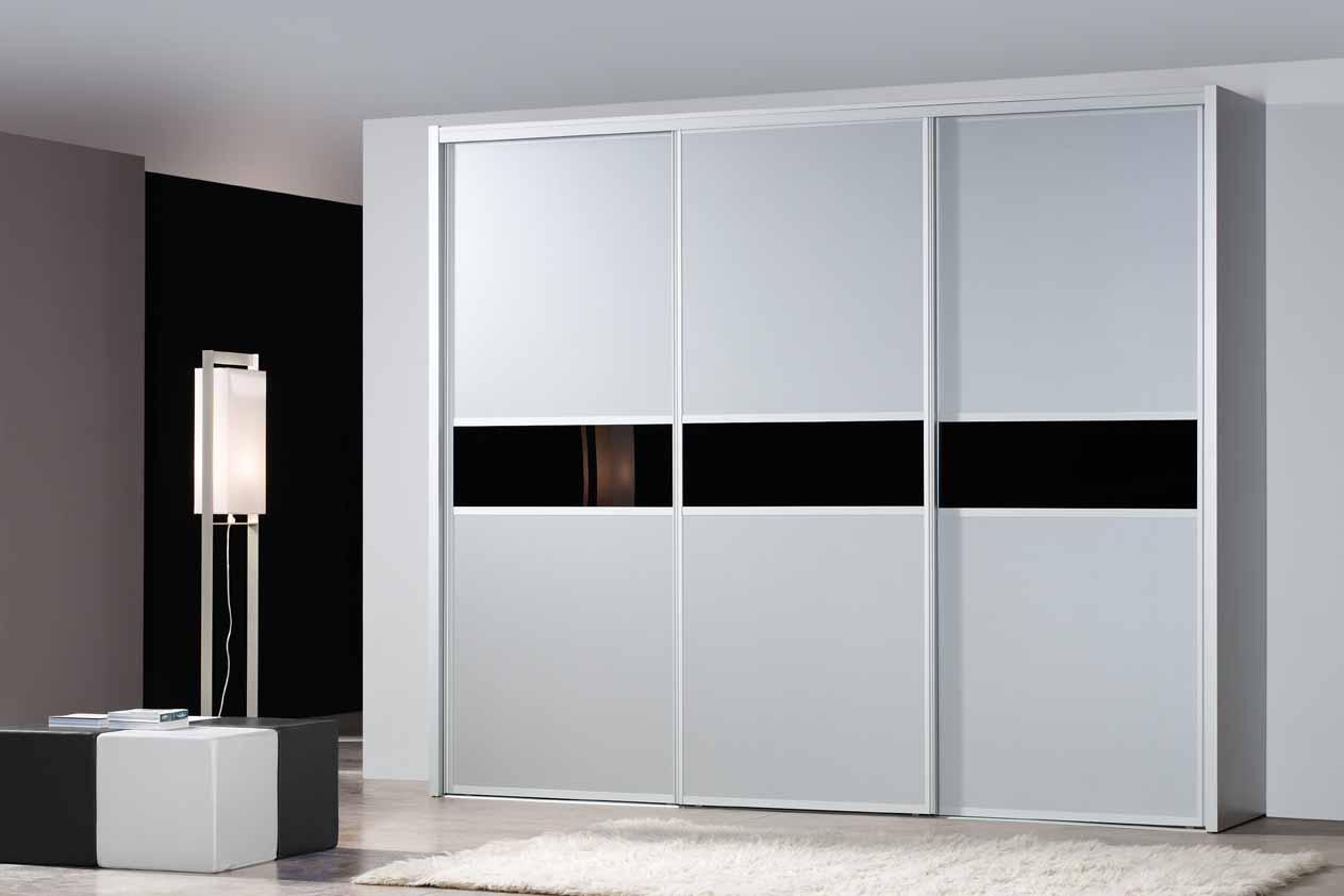 armario correderas en cuerpos frente chapa industrial color blanco y franja lacobel negro perfil marco de aluminio medidas alto