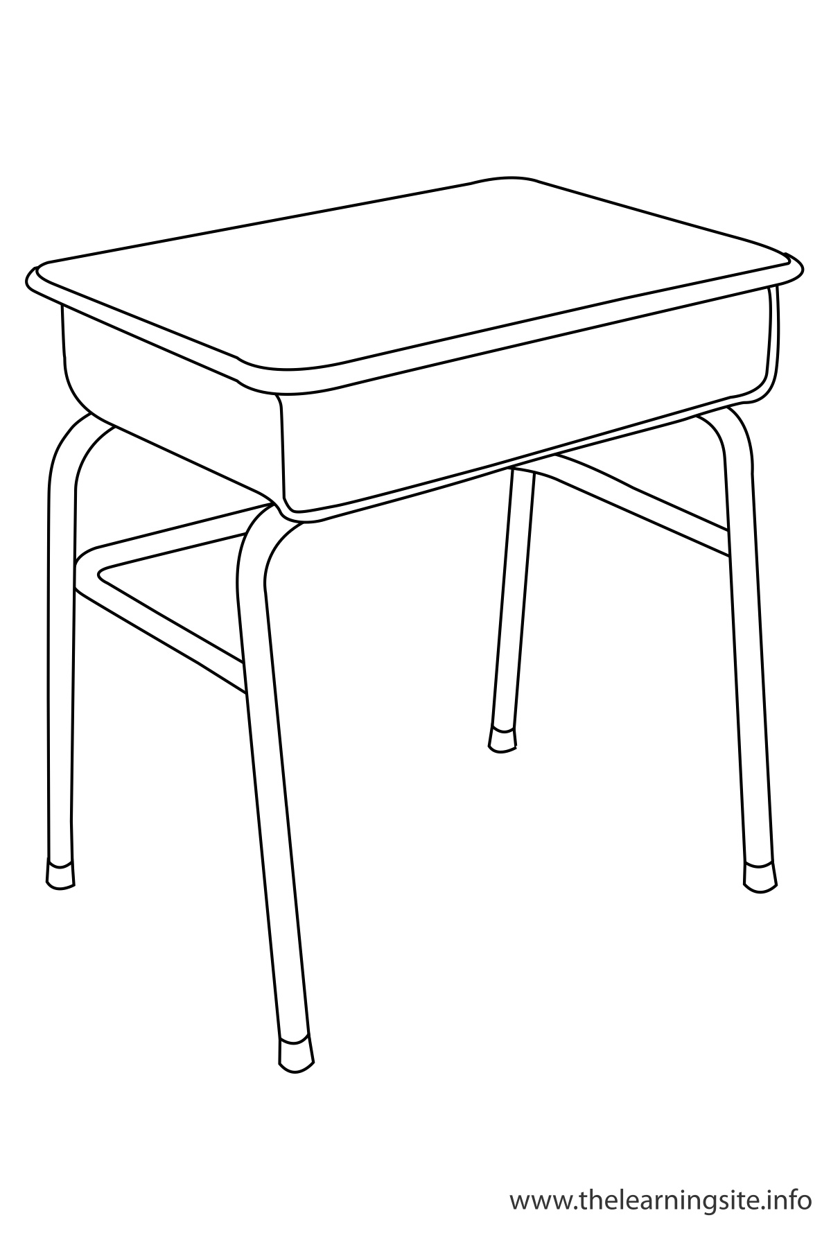 School Desk Coloring Page