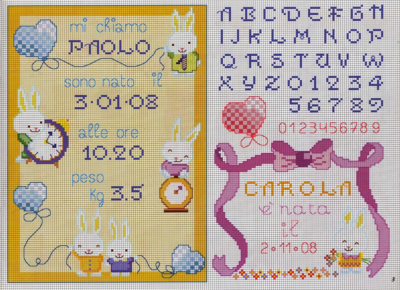 Hobby lavori femminili ricamo uncinetto maglia for Punto croce bambini nascita
