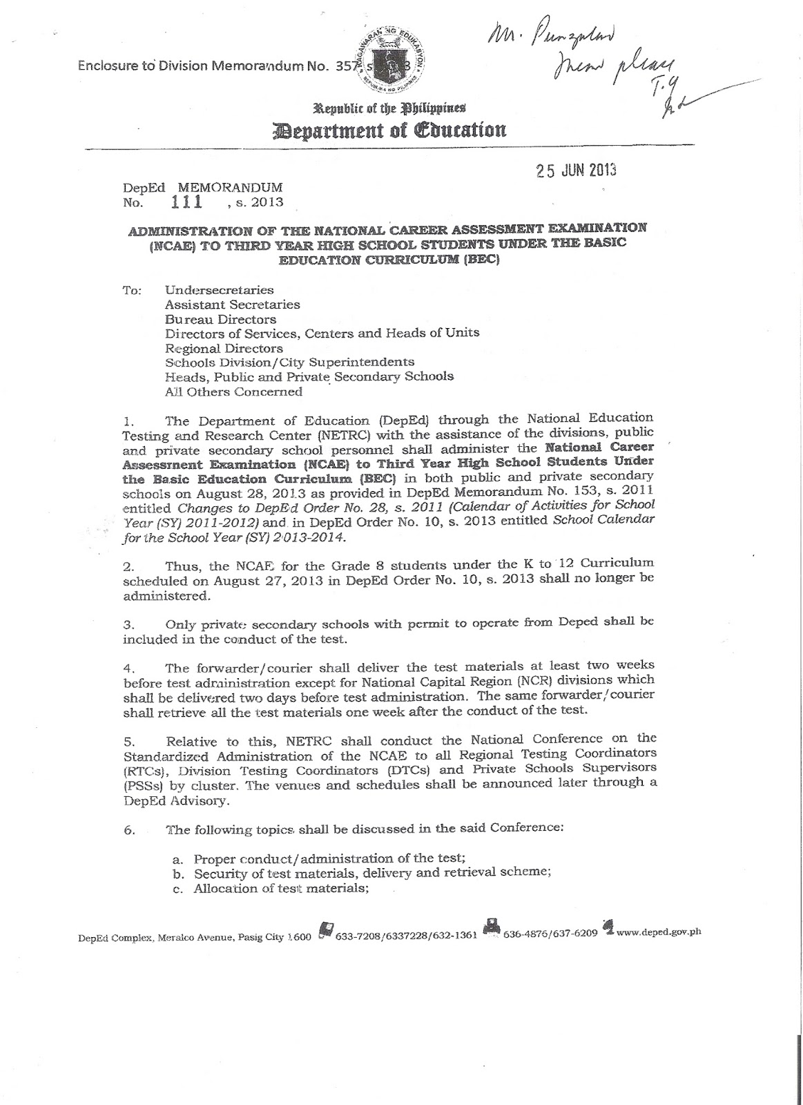 department of education manila memorandum no administration 357 administration of the national career assessment examination ncae to third year high school students under the basic education curriculum bec