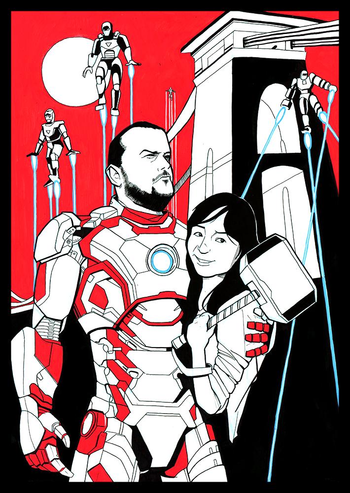 custom artwork - Thor and Iron Man costume