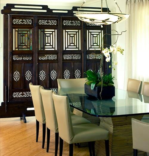 asiatique conception de salle à manger par los angeles designer d'intérieur Diane Bennett Bedford
