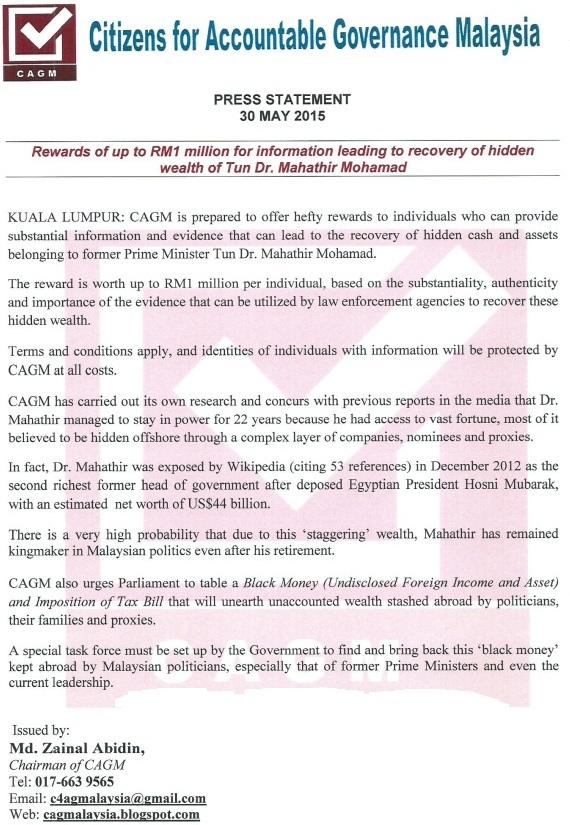 CAGM Reward vs Mahathir