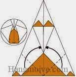 Bước 10: Gấp hai góc giấy lên trên sao cho nằm dưới lớp giấy hình tam giác.