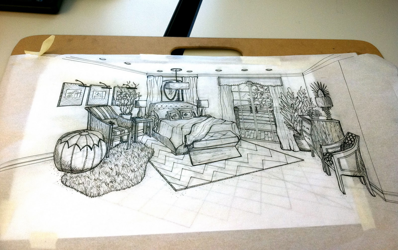 Bedroom drawing perspective - 2nd Attempt At A Perspective Drawing This Time We Had The Chance To Pull In Our Own Creativity To The Space And Work With A Wall On The Diagonal