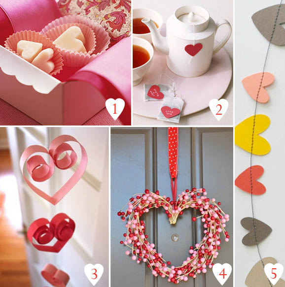 1. chocolate hearts Martha Stewart 2. heart shaped tea bags Martha Stewart 3. heart decoration DigsDigs 4. heart wreath DigsDigs 5. heart garland Etsy