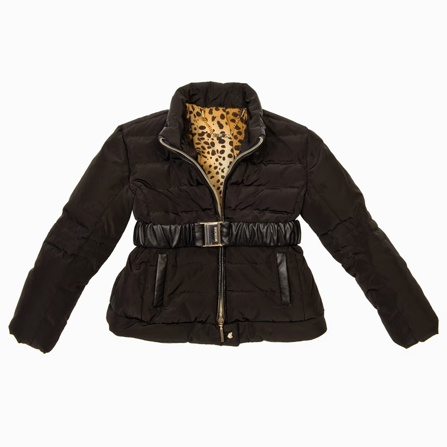 Microbe by Miss Grant - Black Winter Jacket for Girls with Leopard Print Lining