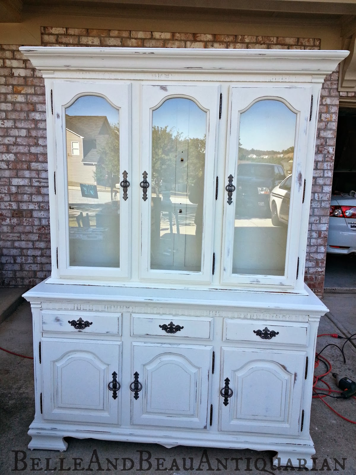 Belle Amp Beau Antiquarian Distressed White China Cabinet