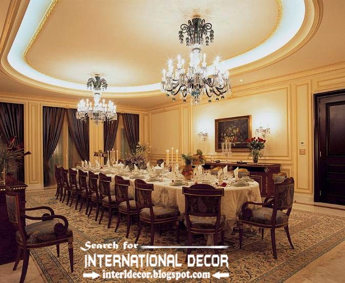 Luxury Gypsum Ceiling Designs For Large Dining Room With Crystal  Chandeliers And Backlight Part 81