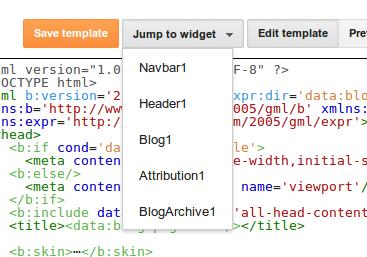 Jump to widget (untuk memudahkan dalam pencarian widget blogger)
