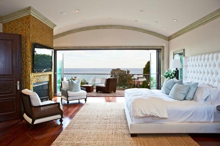 Coastal modern bedroom with ocean view