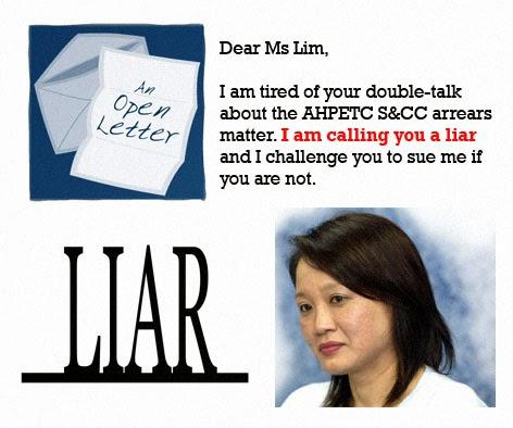 AHPETC MND S&CC Sylvia Lim lies