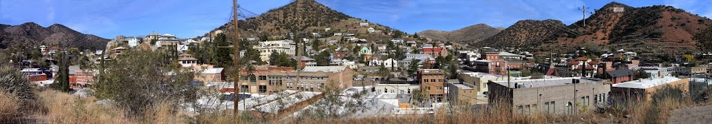 Panoramic view of historic downtown Bisbee, AZ.