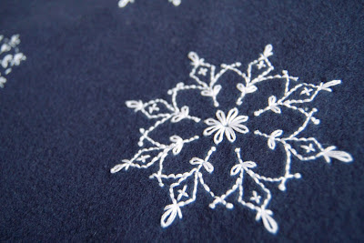 Snowflake Hand Embroidery on Fleece SeptemberHouse