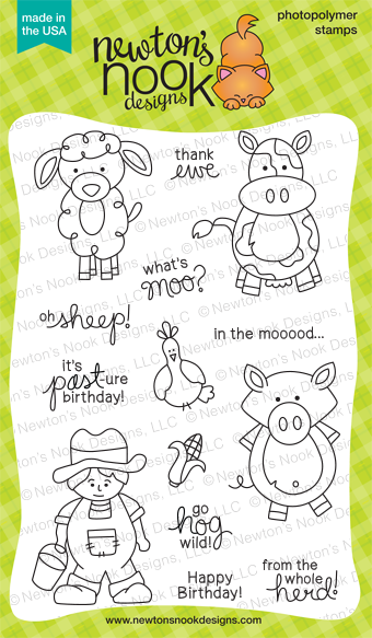 Farmyard Friends - 4x6 farm animal stamp set by Newton's Nook Designs