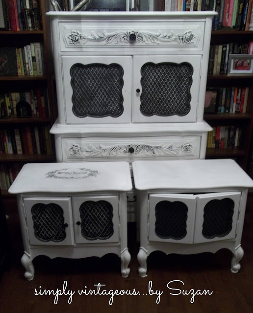 Armoire, end tables, painted, white,