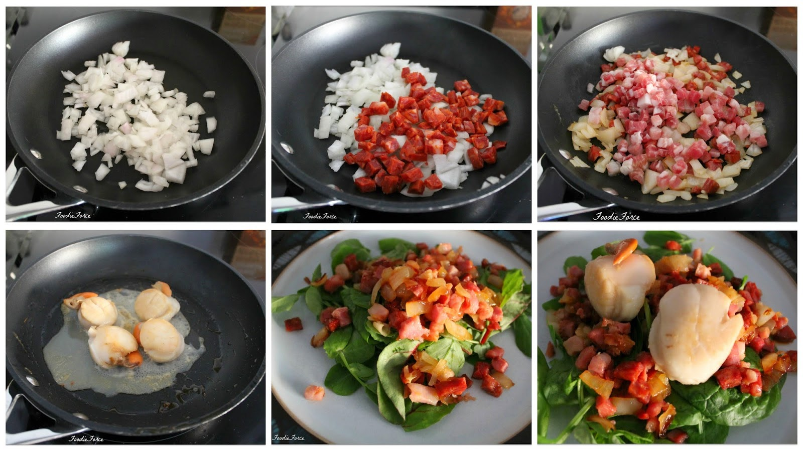 Scallops with chorizo and pancetta