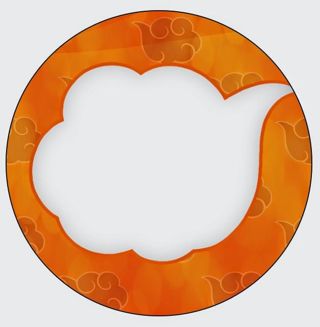 Toppers o etiquetas Naranja y Negro con Nubes de para imprimir gratis.