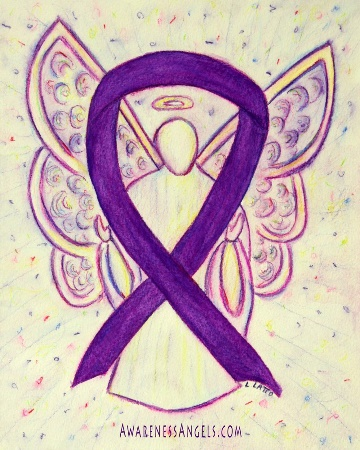 Purple Awareness Ribbon Angel Art Painting from Awareness Art Gallery