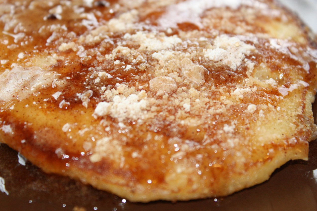 pass the peas, please: cinnamon streusel pancakes with cinnamon syrup