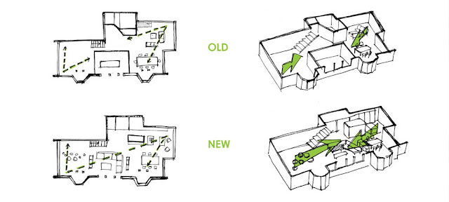 Floor plans showing difference between old and new design