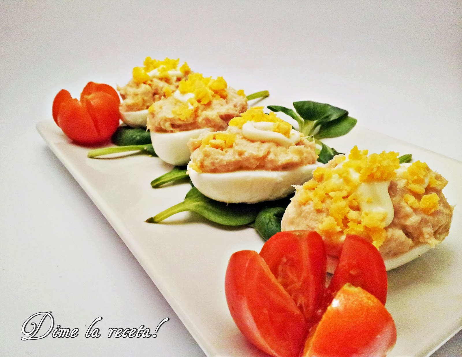 Dime la receta huevos rellenos - Como decorar platos ...