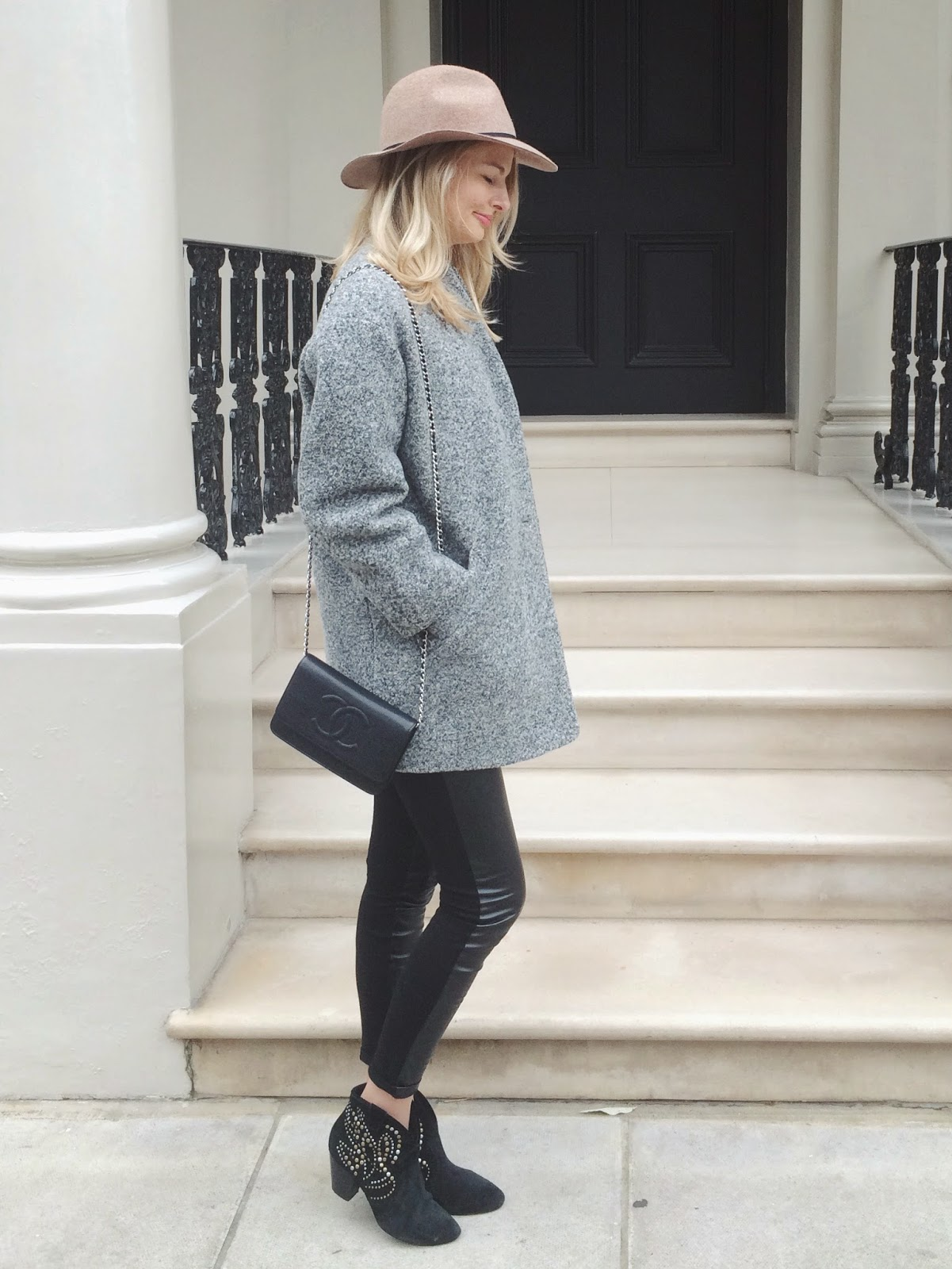 london street style, outfit of the day, grey coat, grey iro coat, blonde hair, tan fedora hat, black and grey outfit