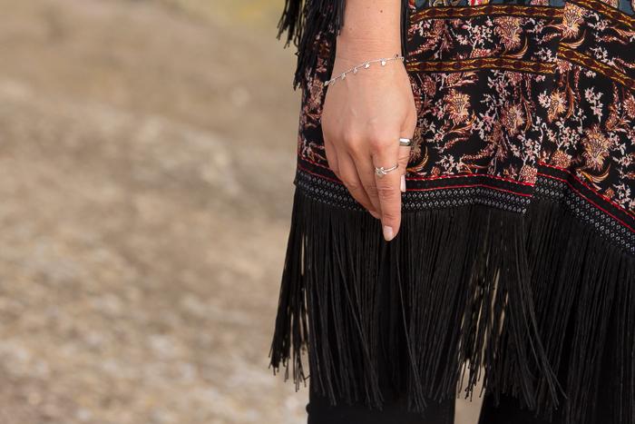 Tendencia accesorios Pulsera de hojas de plata y anillo de estrella