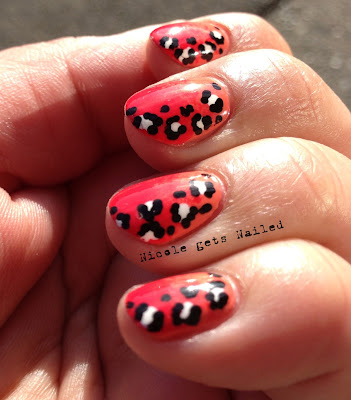 Orange Red Gradient with Leopard Nail Art