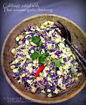 Thai sesame garlic dressing with calamondin juice   a red cabbage salad and a ripe papaya salad with Thai sesame garlic dressing