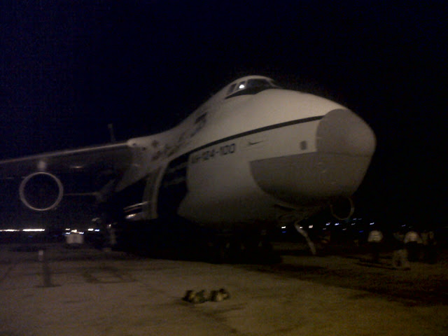 AN 124 parked at Chennai Airport for Loading