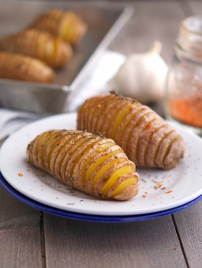 Roasted Garlic Thyme Butter Hasselback Potatoes