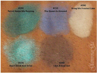 REVIEW and swatches: Catrice Eyeshadows bring me frosted cake, dont's drink and drive, petrol keeps me running, I am a coal-girl and the queen is amused.