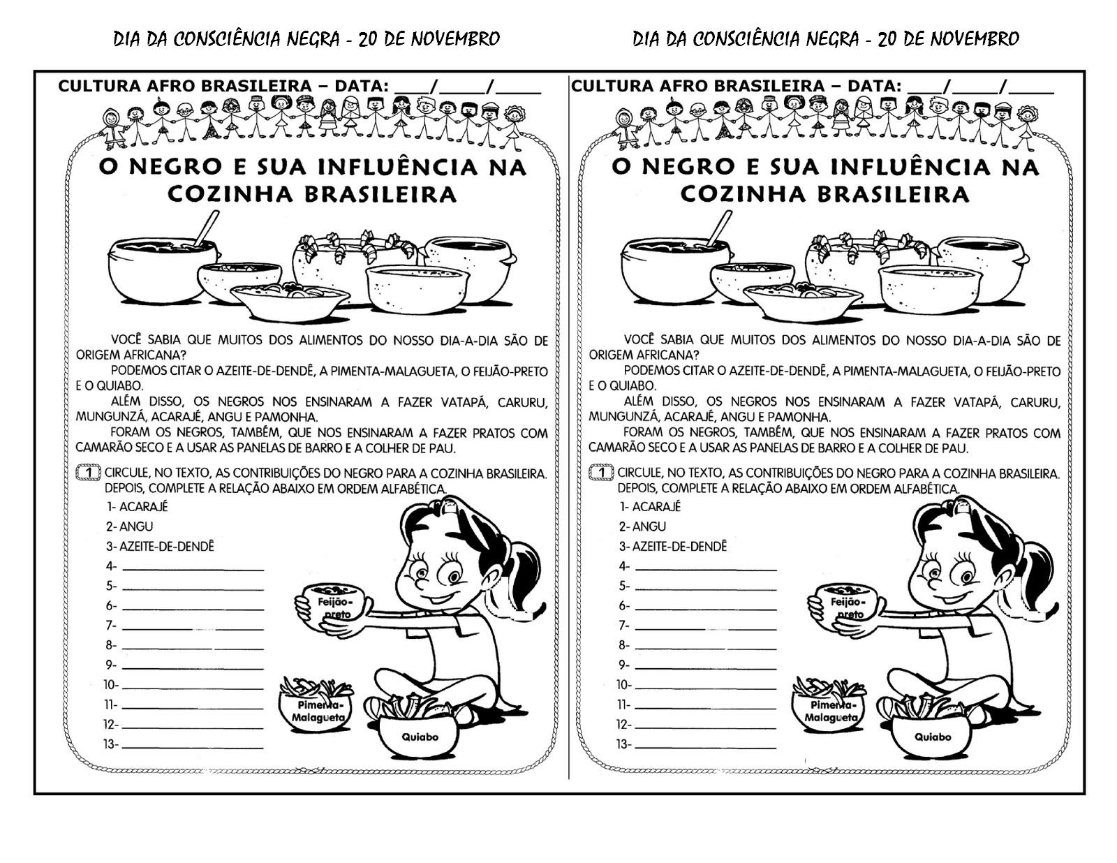 Atividades Da Tia Liu Consci Ncia Negra Desenhos E Atividades  ~ Desenhos Para Colorir Cozinha
