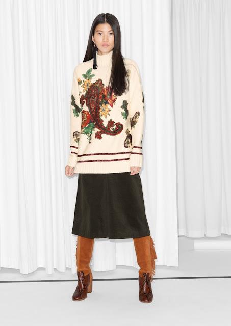 stories cream pattern jumper, cream paisley print jumper, cream embroidered flower jumper,