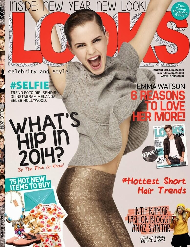 Magazine Cover : Emma Watson Magazine Photoshoot Pics on Look Magazine January 2014 Issue