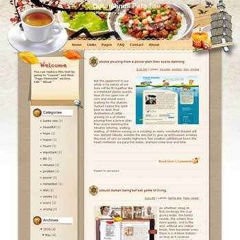 Gourmands Paradise blogger template from wordpress. travel blog template. template blogger recipes or cooking blogs
