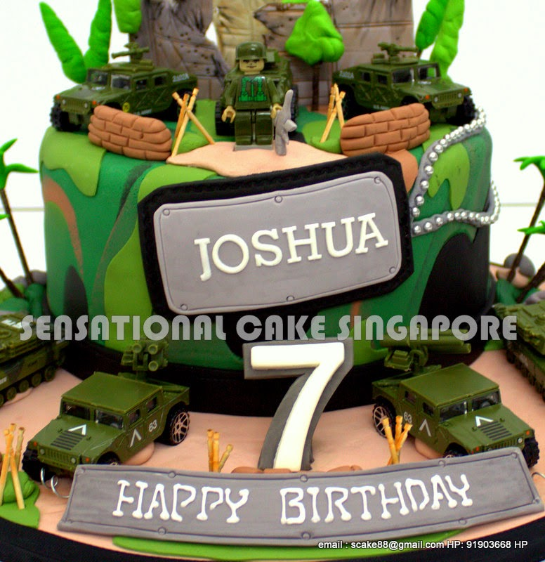 The Sensational Cakes CAMOUFLAGE 1 TIER BIRTHDAY CAKE SINGAPORE