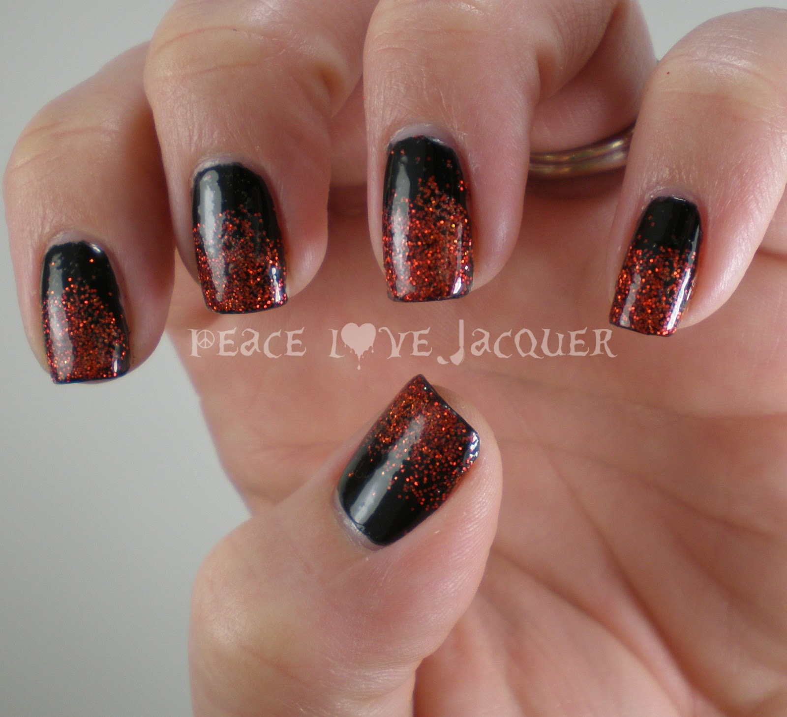 Peace love lacquer red glitter gradient nail art red glitter gradient nail art prinsesfo Gallery
