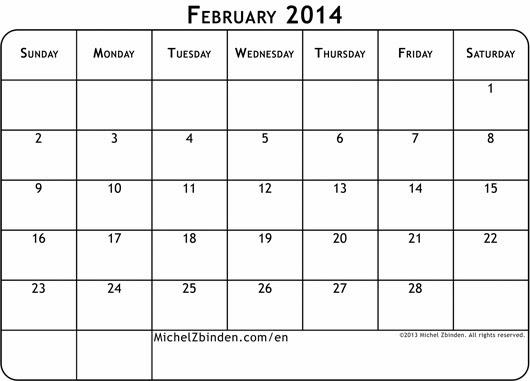 February 2014 Calendar Printable #5 - Printable Calendar 2014 ...